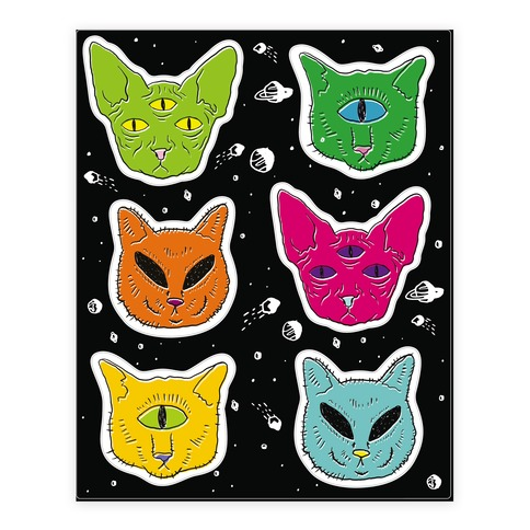 Alien Cat Sticker and Decal Sheet