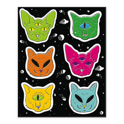 Alien Cat  Sticker/Decal Sheet