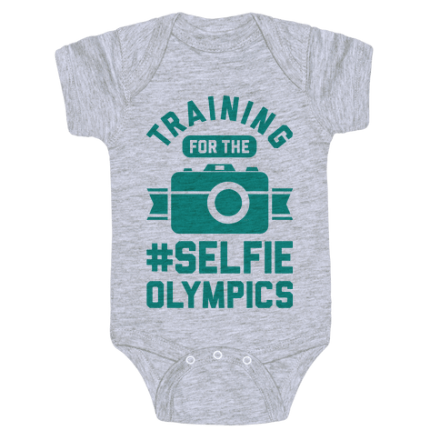 Training For The Selfie Olympics Baby Onesy