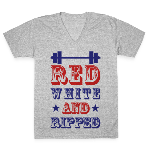 Red White and Ripped V-Neck Tee Shirt
