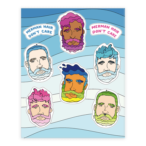 Merman Hair  Sticker/Decal Sheet