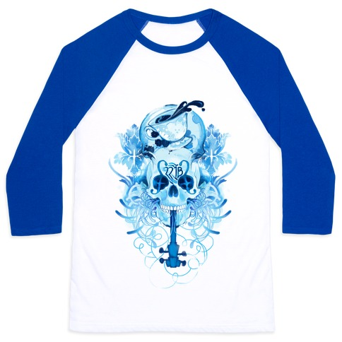 221B Watercolor Sherlock Skull Baseball Tee
