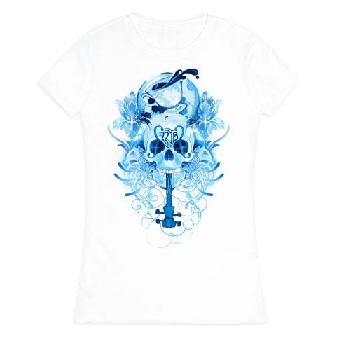 221B Watercolor Sherlock Skull Womens T-Shirt