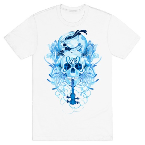 221B Watercolor Sherlock Skull T-Shirt