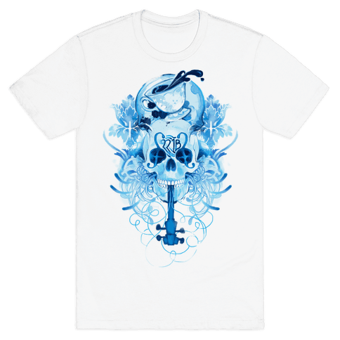 221B Watercolor Sherlock Skull Mens T-Shirt