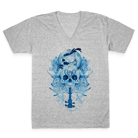 221B Watercolor Sherlock Skull V-Neck Tee Shirt