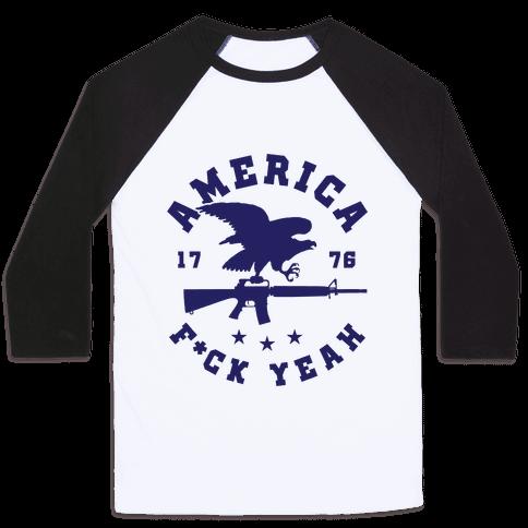 America F*ck Yeah Eagle Baseball Tee