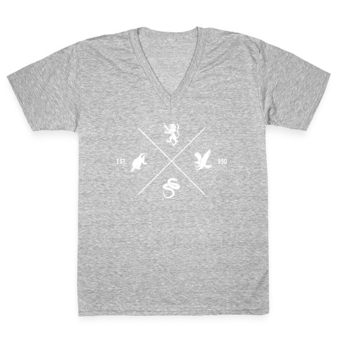 Hogwarts Minimal Crest V-Neck Tee Shirt