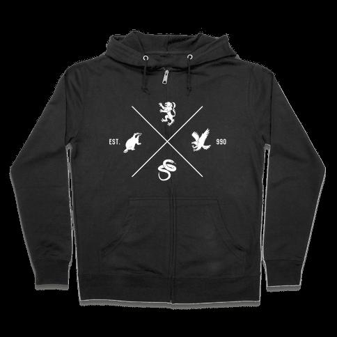 Hogwarts Minimal Crest Zip Hoodie