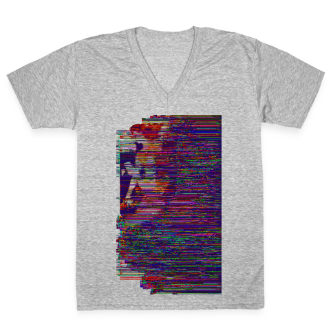 Glitch Art Pinup V-Neck Tee Shirt