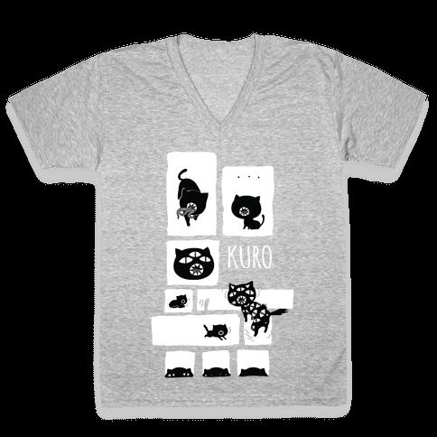 Kuro Cat V-Neck Tee Shirt