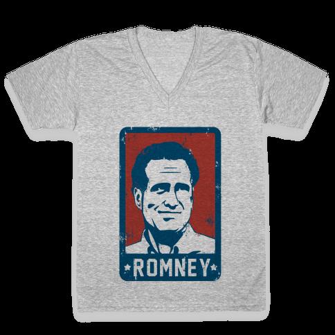 Romney Vintage V-Neck Tee Shirt