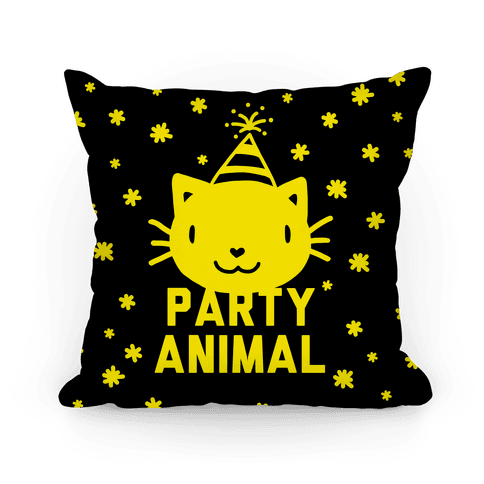 Party Animal Pillow (Yellow On Black) Pillow