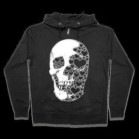 Heart Skull Zip Hoodie