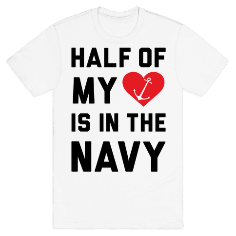 Half My Heart Is In The Navy Mens T-Shirt