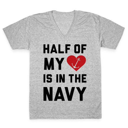 Half My Heart Is In The Navy V-Neck Tee Shirt