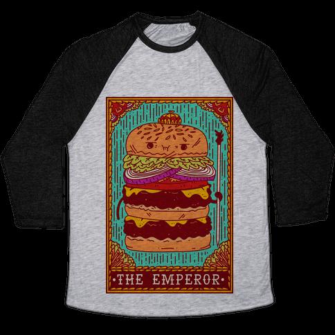 Burger Emperor Tarot Card Baseball Tee