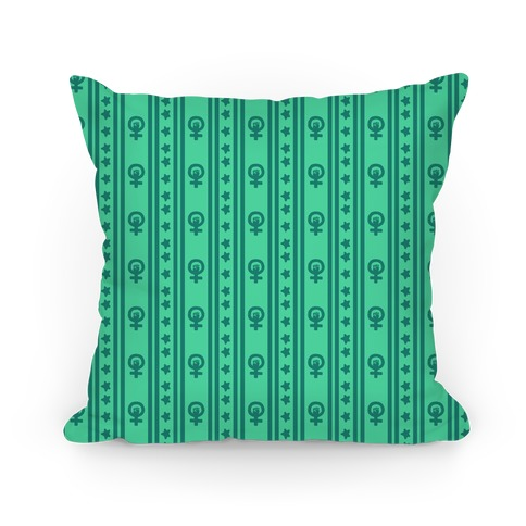 Green Feminist Symbol Pattern Pillow