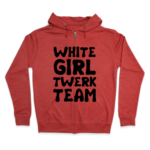 White Girl Twerk Team Neon Zip Hoodie