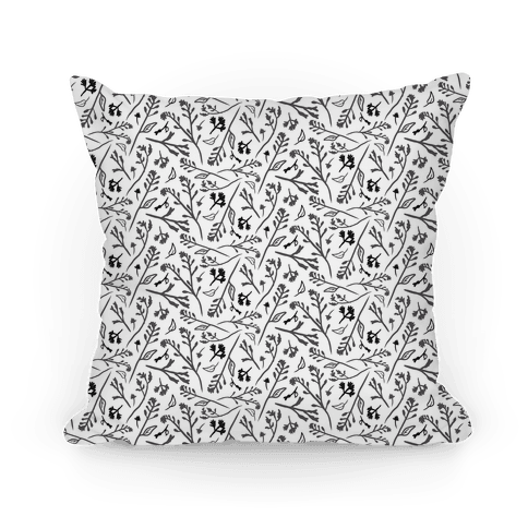 Lovely Wildflower Meadow Black and White Pattern Pillow