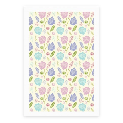 Floral and Leaves Pattern Poster