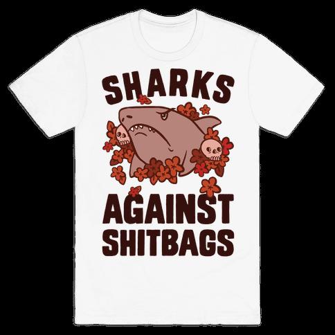 Sharks Against Shitbags Mens T-Shirt