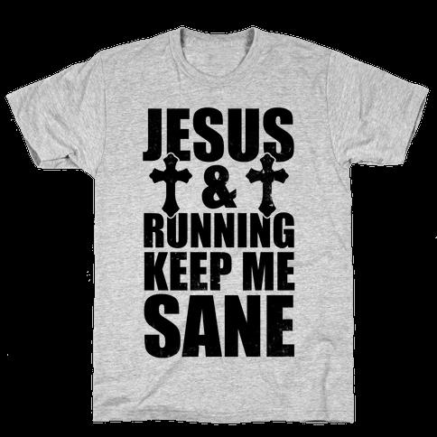 Jesus and Running Keep Me Sane (Vintage) Mens T-Shirt