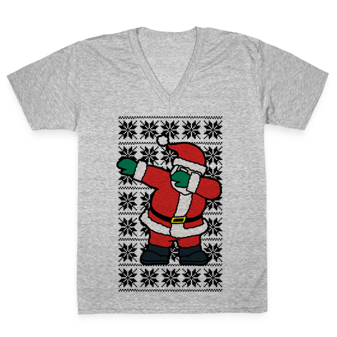 Dabbing Santa V-Neck Tee Shirt
