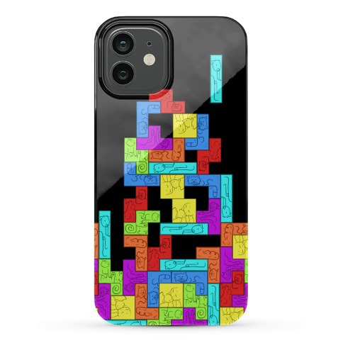 Tetris Cats Fail Pattern Phone Case
