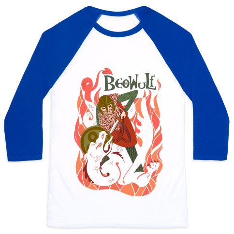 Medieval Epic Beowulf Book Cover Baseball Tee