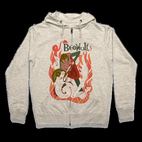 Medieval Epic Beowulf Book Cover Zip Hoodie