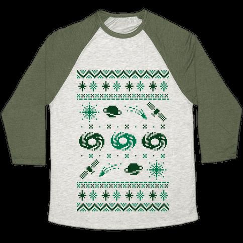 Interstellar Christmas Sweater Pattern Baseball Tee