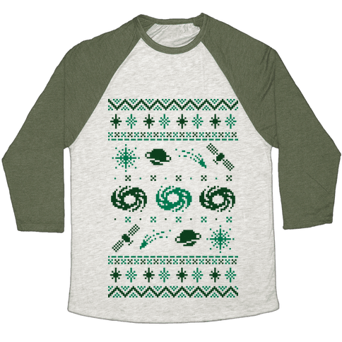 Interstellar Christmas Sweater Pattern Baseball Tee