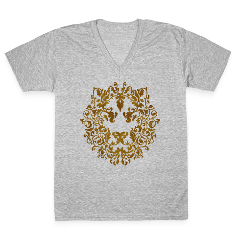 Floral Lion V-Neck Tee Shirt