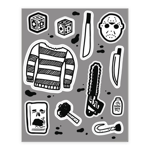 Slasher Slumber Party Horror  Stickers and Decal Sheet