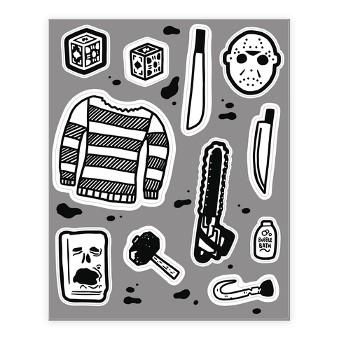 Slasher Slumber Party Horror  Sticker/Decal Sheet