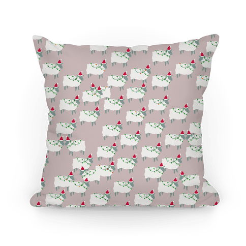 Fleece Navidad Sheep Army Pattern Pillow