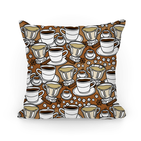 Coffee, Tea and Espresso Pattern Pillow