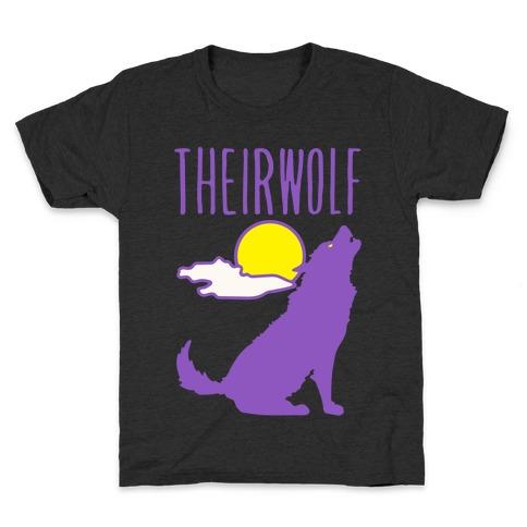 Their-Wolf Non-Binary Werewolf Parody White Print Kids T-Shirt