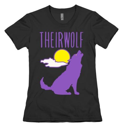 Their-Wolf Non-Binary Werewolf Parody White Print Womens T-Shirt