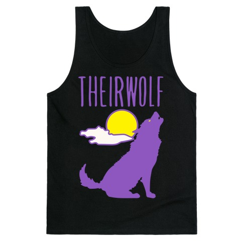 Their-Wolf Non-Binary Werewolf Parody White Print Tank Top