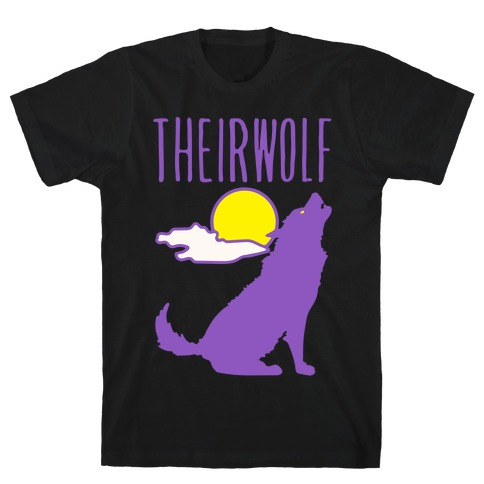 Their-Wolf Non-Binary Werewolf Parody White Print T-Shirt