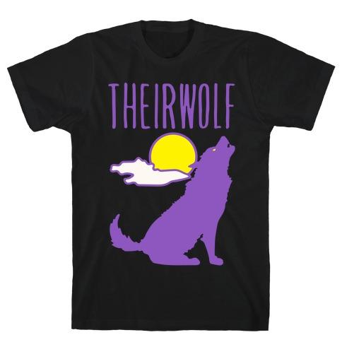 Their-Wolf Non-Binary Werewolf Parody White Print T-Shirt