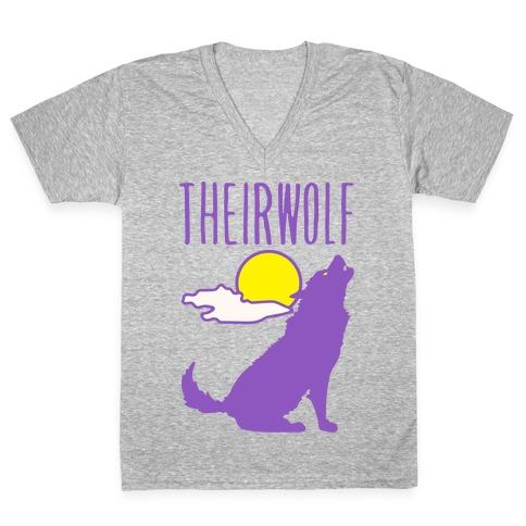 Their-Wolf Non-Binary Werewolf Parody White Print V-Neck Tee Shirt