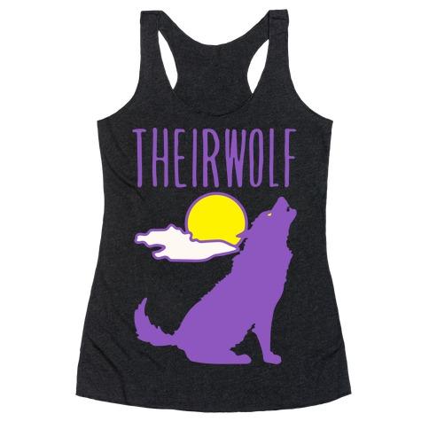 Their-Wolf Non-Binary Werewolf Parody White Print Racerback Tank Top