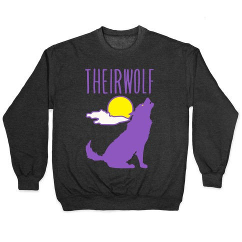 Their-Wolf Non-Binary Werewolf Parody White Print Pullover