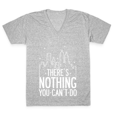 NYC - There's Nothing You Can't Do (Night) V-Neck Tee Shirt