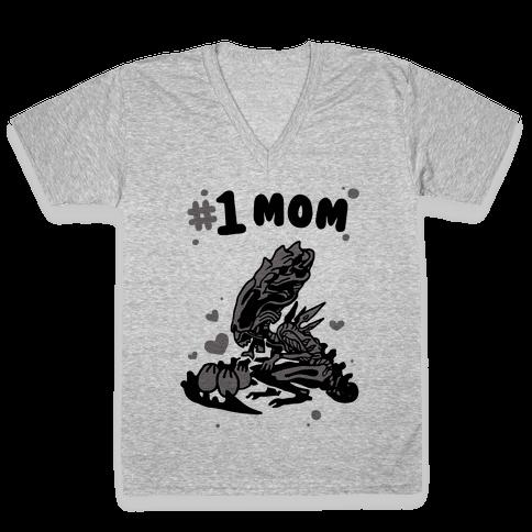 Alien Queen #1 Mom V-Neck Tee Shirt