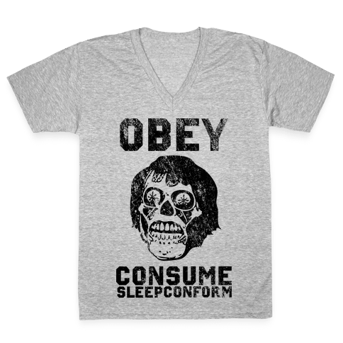 Obey Consume Sleep Conform (They Live) V-Neck Tee Shirt