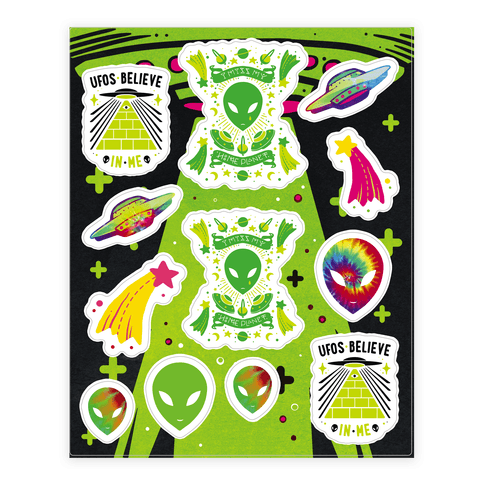 Retro Alien Sticker and Decal Sheet